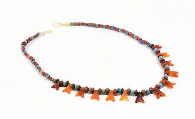 Ancient Egyptian Re Strung Fly Amulets And Bead Necklace