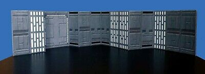 Death Star Hallway Diorama Walls 2 pack Star Wars Hasbro Kenner Free Shipping