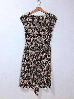 Pink, Green, Yellow, Black, &  White Sleeveless Dress by 'Peacocks'—Size 10
