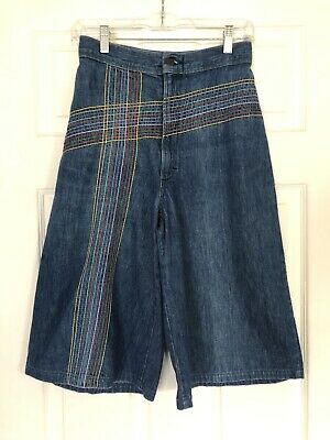 Vintage 1970s Denim Rainbow Stitch Culottes Long Jean Shorts Boho Clam Diggers