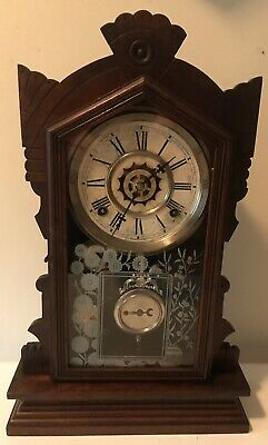 Antique Waterbury 8 Day Gong Chiming Gingerbread Ding Bell Alarm Mantle Clock