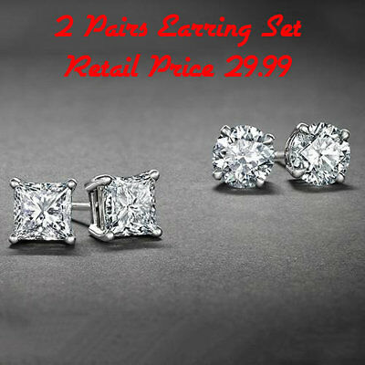 Surgical 316L Stainless Steel Stud Earrings Cubic Zirconia Round Men Women 2 Set