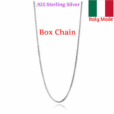 Sterling Silver BOX Chain Necklace 015 Gauge Stamped 925 Italy Solid Silver Box