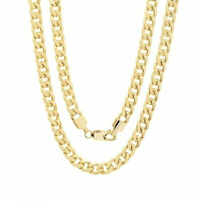 """10K Solid Yellow Gold Cuban Link Chain Necklace 16""""- 30"""" Men's Women 1.2mm"""