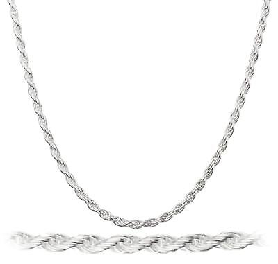925 Sterling Silver Necklace Diamond-Cut Rope Chain 2mm 925 Sterling Silver Rope