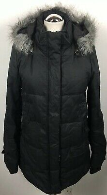 Ladies White Stuff Dark Navy Feather Down Padded Coat With Faux Fur Trim. Uk 12.