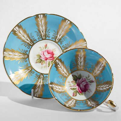 PARAGON Fine Bone China DUO Cup Saucer Roses Turquoise Gilding
