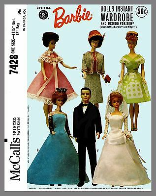 McCall's Barbie  Doll's Wardrobe and Tuxedo For Ken Fabric Sewing Pattern # 7428