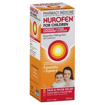 Nurofen for Children 3 Months to 5 Years 200mL - Strawberry, Pain & Fever Relief