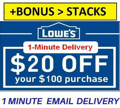 ONE 1X Lowes $20 off100 1Coupons-INSTORE ONLY-EPIC Delivery +BONUS Stacking