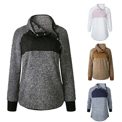 Fluffy Sweatshirt Button Spring/Autumn/Winter Casual Pullover Long Sleeve Hoody