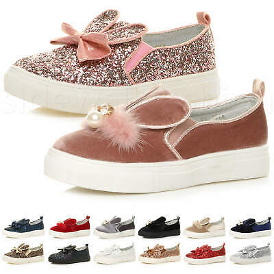 Girls kids childrens flat glitter bow rabbit ears slip on plimsoles shoes size