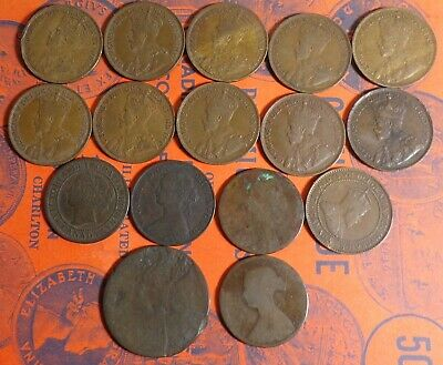 Collectors Lot of Old Foreign Cents From 1859 to 1919!!! HISTORY YOU HOLD!