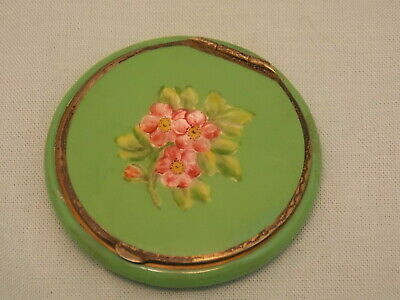 Antique Sterling Enameled Compact Vintage Flowers