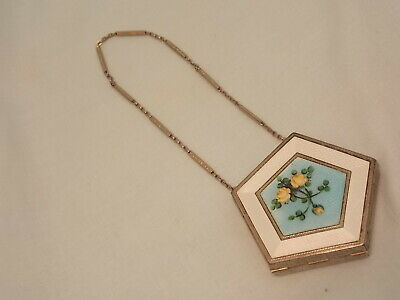 Stunning Deco Guilloche Enameled Compact Flowers