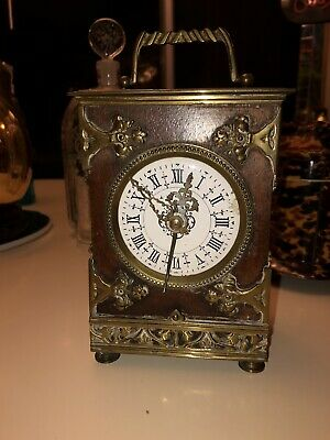 Antique French Wood With Brass Detailing Alarm/Carriage Clock