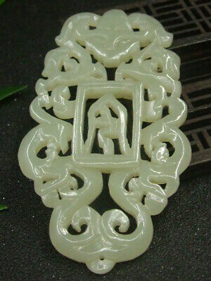 Antique Chinese Nephrite Celadon-Hetian-OLD-Jade Hollow Dragon Statue/Pendant