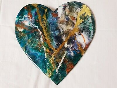"12"" Resin Heart on Wood - Resin Art - Abstract Art - Resin Painting"