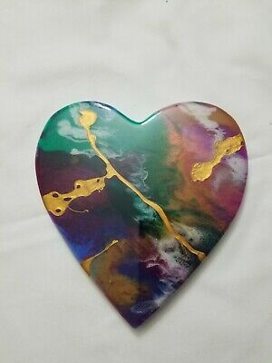 "8"" Resin Heart on Wood - Resin Art - Abstract Art - Resin Painting"