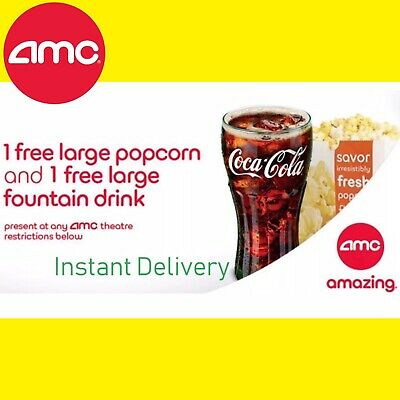 Instant E-Delivery: AMC Theater Free Large Drink & Large Popcorn || Exp 12/31/20