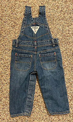 Oshkosh B'gosh Baby Infant Girl Overalls Bibs Romper Denim Vestbak Vintage 12M