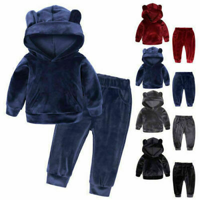 Toddler Kids Baby Girl Velvet Tops Sweatshirt Pants Outfits Leggings Clothes UK