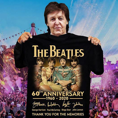 The Beatles Band 60th Anniversary 1960-2020 Signature Men Women Black Tshirt