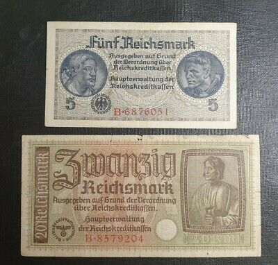 Germany 1940 5, 20 Reichsmarks banknotes