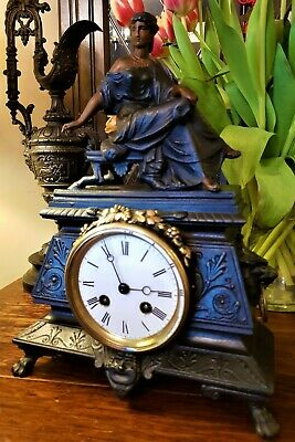 Antique French Cast Iron & Gilt Mantel Clock.