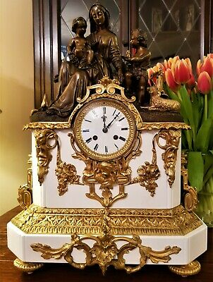 Large Antique French Bronze, Ormolu & Stone Mantel Clock.