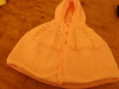 brand new hand knitted baby peach girls cape with hood 0/3 months