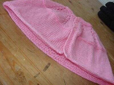 brand new hand knitted baby pink girls cape 0/3 months