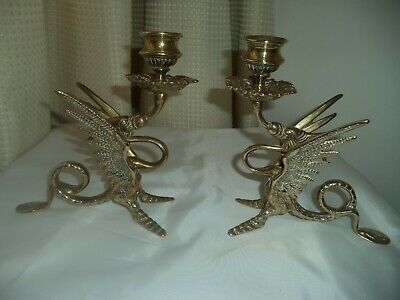Brass Arts Crafts Pair of Dragon Candle Holders height 7ins