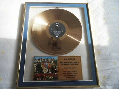 Beatles Gold Disc - Sgt Pepper's Lonely Hearts Club Band LP - Rare to Market.