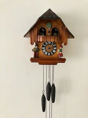 Vintage Hand Made Wooden Regula Musical Dancers Wheel Cuckoo Clock Germany