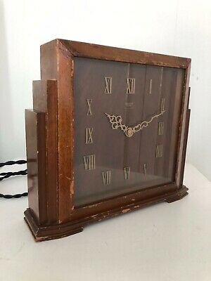 Vintage Retro Large SMITHS Sectric Wooden Mantle Clock Made in England