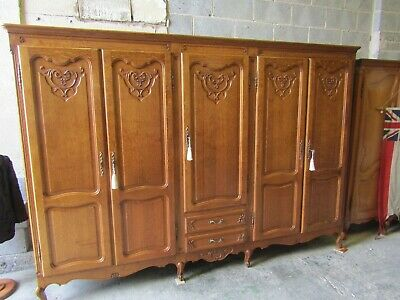 Huge French 5 door Louis XV carved oak armoire,wardrobe,w drawers,Flat pack
