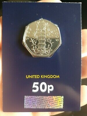 STUNNING GENUINE KEW GARDENS 50p FIFTY PENCE CERTIFIED 2019 BU MINT SEALED COIN.