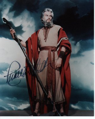 Charlton Heston - Superb Pose As Moses - Col 10X8 Signed - Nearly 100 Movies