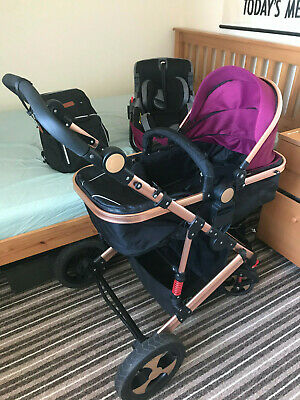 Tomikid 3in1 Combi Stroller Baby Buggy Pushchair Pram Travel Car Seat Carry Cot