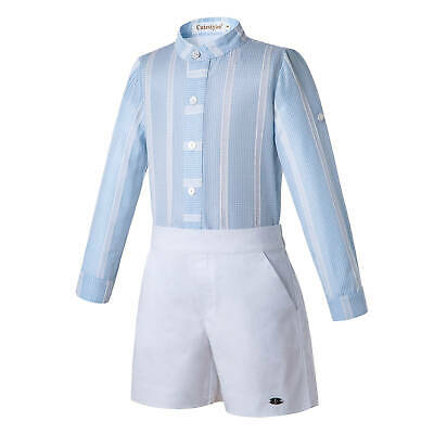 Romany kids Boys Striped Outfits Birthday Party Shirt Top And Shorts Gentleman