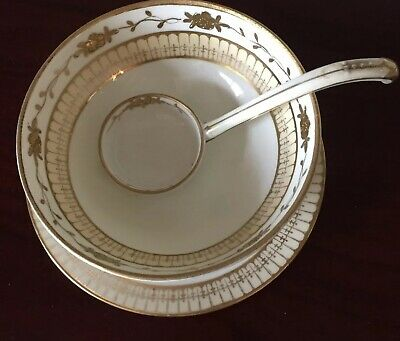 Antique Nippon Soup Rice Bowl Matching Plate Spoon , Hand Painted Cream & Gold