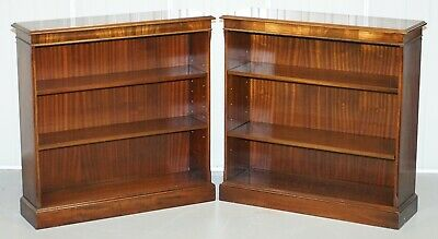 Pair Of Bevan Funnell Flamed Mahogany Dwarf Open Bookcases Adjustable Shelves