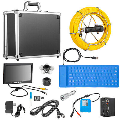 "7"" LCD Pipe Inspection Pipeline 30M Drain Sewer Waterproof Camera 16G w/Keyboard"