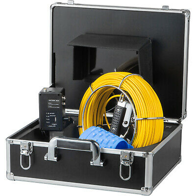 "7"" LCD Pipe Inspection Pipeline 40M Drain Sewer Waterproof Camera 16G w/Keyboard"