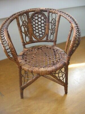 Antique salesman sample hand woven  cane chair doll seat