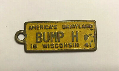 1941 Wisconsin BF Goodrich Vanity License Plate Keychain FOB SEE DESCRIPTION