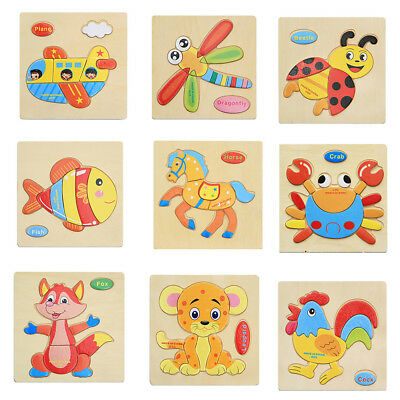 Wr_ Eg_ Colorful Wooden Puzzle Animal Educational Developmental Baby Kids Toy Op