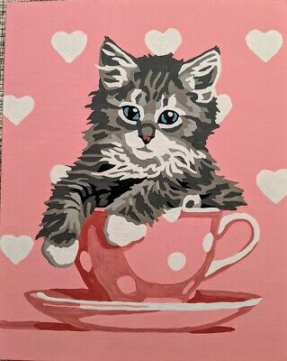 Gray Kitten in a Tea Cup Wall Painting. Handmade Acrylic/Oil Painting