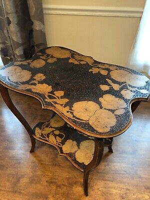 Antique intricately hand carved wood table, unique, very good condition